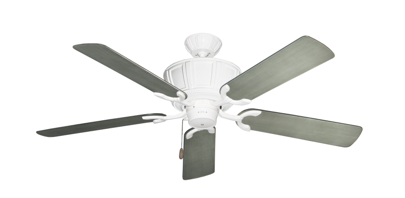 """Centurion Pure White with 52"""" Outdoor Brushed Nickel BN-1 Blades"""