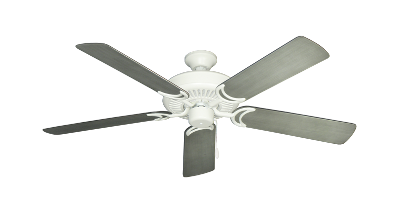 """Picture of Riviera Matte Pure White with 52"""" Outdoor Brushed Nickel BN-1 Blades"""