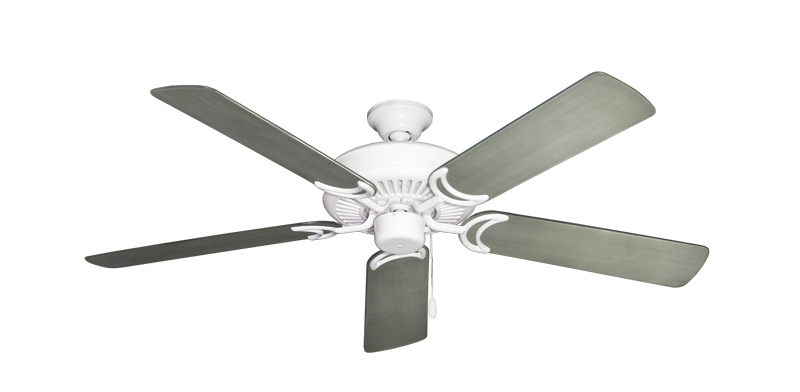 "Picture of Riviera Pure White with 52"" Outdoor Brushed Nickel BN-1 Blades"
