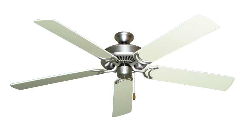 """Picture of Riviera Satin Steel with 60"""" Antique White Blades"""