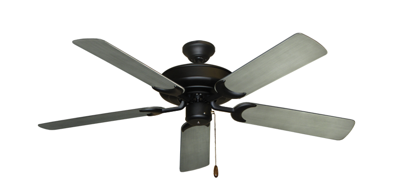 """Picture of Raindance Matte Black with 52"""" Outdoor Brushed Nickel BN-1 Blades"""