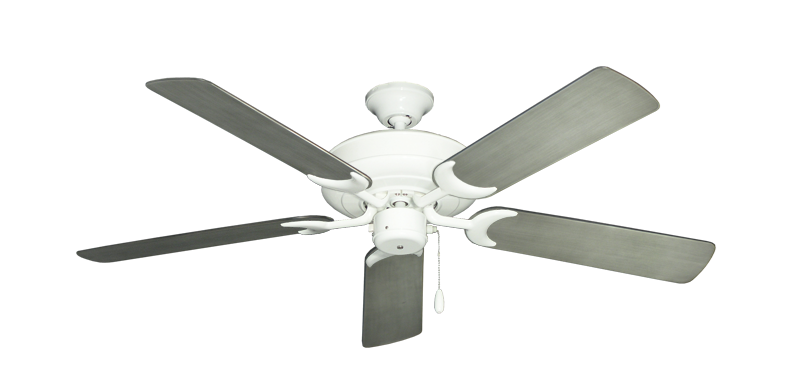 """Picture of Raindance Pure White with 52"""" Outdoor Brushed Nickel BN-1 Blades"""