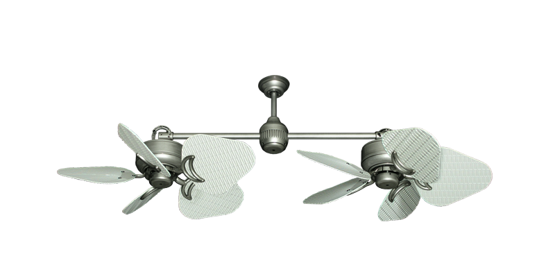 """Picture of Twin Star III Brushed Nickel with 30"""" Nautical Fabric Pure White Blades"""