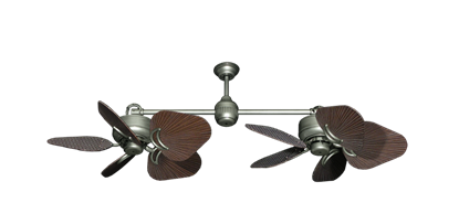"""Picture of Twin Star III Brushed Nickel with 35"""" Leaf Oil Rubbed Bronze Blades"""