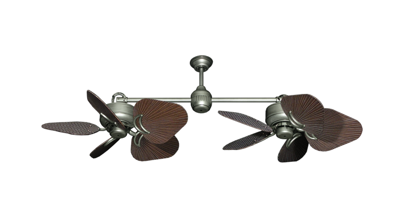 "Picture of Twin Star III Brushed Nickel with 35"" Leaf Oil Rubbed Bronze Blades"