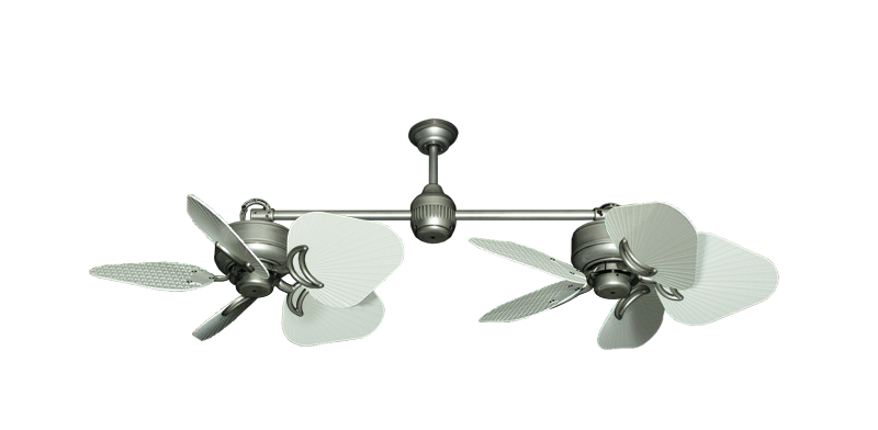 """Picture of Twin Star III Brushed Nickel with 35"""" Leaf Pure White Blades"""