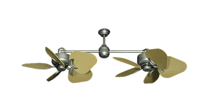 "Twin Star III Brushed Nickel with 35"" Leaf Tan Blades"
