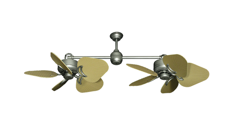 "Picture of Twin Star III Brushed Nickel with 35"" Leaf Tan Blades"