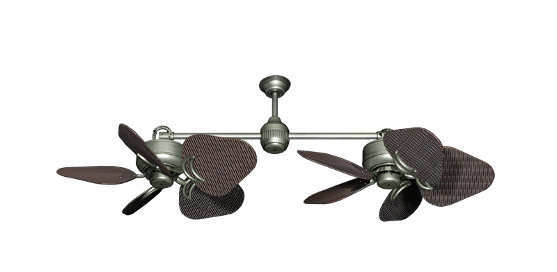 """Picture of Twin Star III Brushed Nickel with 35"""" Wicker Oil Rubbed Bronze Blades"""