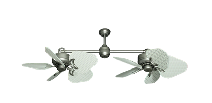 """Picture of Twin Star III Brushed Nickel with 35"""" Wicker Pure White Blades"""
