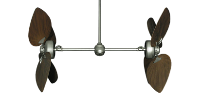 """Picture of Twin Star III Brushed Nickel with 50"""" Bombay Oil Rubbed Bronze Blades"""