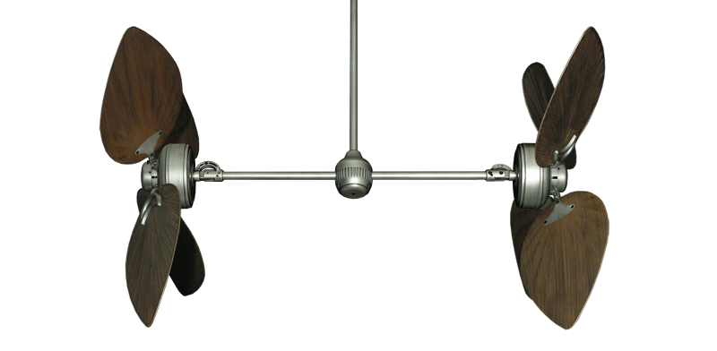 """Twin Star III Brushed Nickel with 50"""" Bombay Oil Rubbed Bronze Blades"""