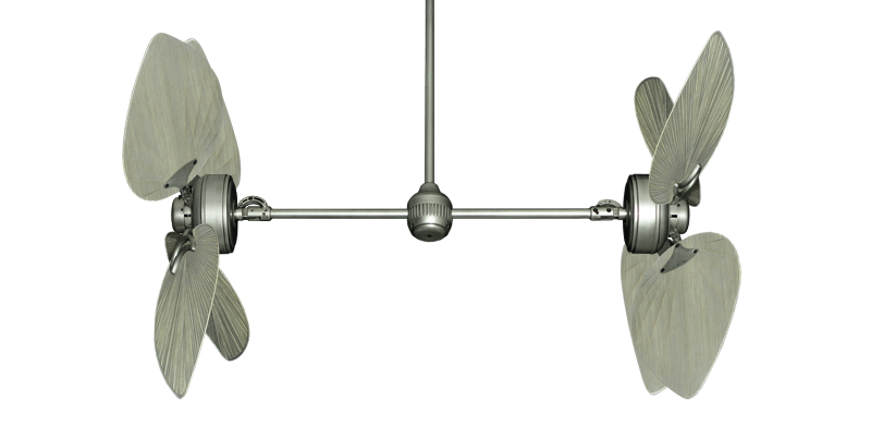 """Twin Star III Brushed Nickel with 50"""" Bombay Driftwood Blades"""