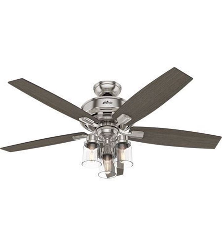 "Hunter  52"" Bennett Brushed Nickel Ceiling Fan with LED Light and Handheld Remote, Model 54190"