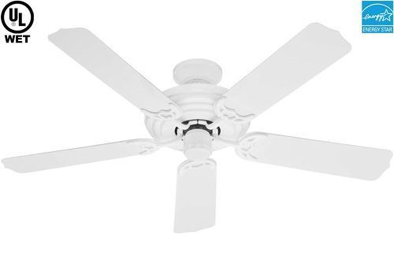 """Picture of Hunter  52"""" Sea Air  White Outdoor Ceiling Fan, Model 53054"""