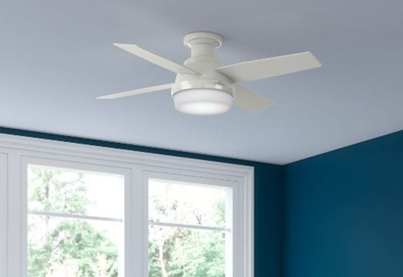 """Hunter 44"""" Dempsey Low Profile with Light Fresh White Ceiling Fan with Light with Handheld Remote, Model 59244"""