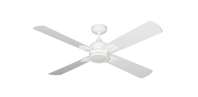 """Captiva 52"""" Indoor Contemporary Pure White Ceiling Fan with LED Light and Remote Control"""