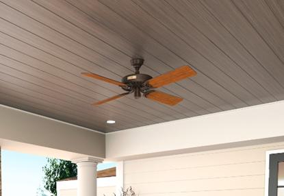 """Hunter 52"""" Outdoor Orig Teak Blades 52 Chestnut Brown Ceiling Fan , Model 23847"""