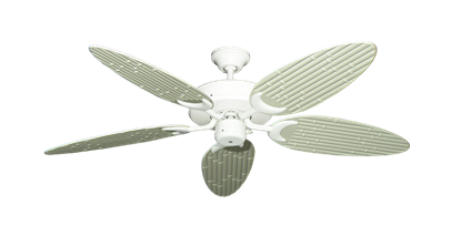 "Picture of Patio Fan Pure White with 52"" Outdoor Bamboo Antique White Blades"