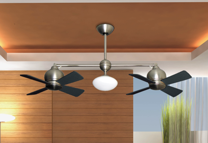 24 Quot Metropolitan Dual Ceiling Fan With Light In Satin